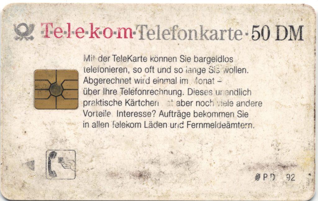 Telekom Telefonkarte 50 DM Chip Seite